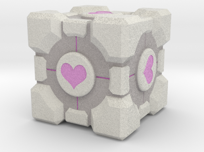 "Weighted Portal Cube (In Color) - Heart 2"" 3d printed"