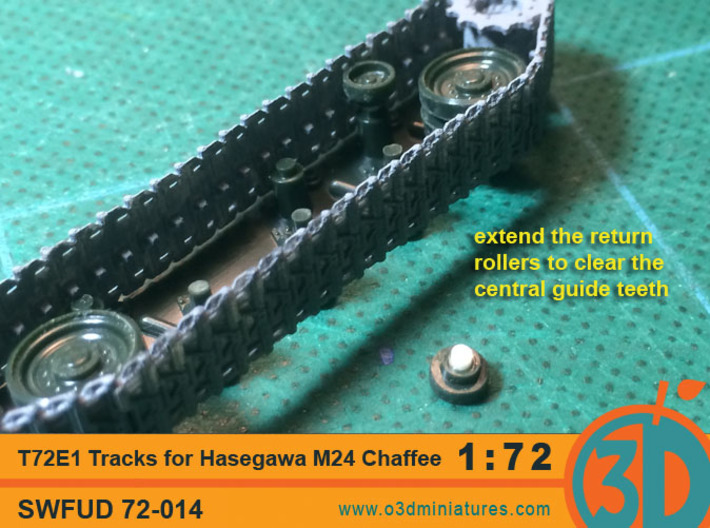 T72E1 tracks for Hasegawa M24 Chaffee 1/72 scale S 3d printed extend the hasegawa return roller mount