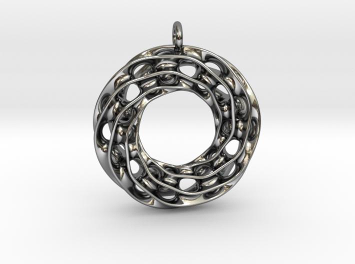 Twisted Scherk Linked 3,4 Torus Knots Pendant 3d printed