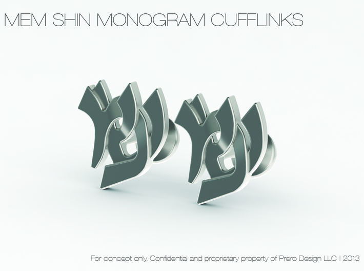 "Hebrew Monogram Cufflinks - ""Mem Shin"" 3d printed"