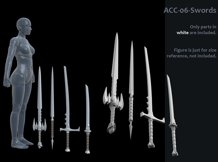 ACC-06-Swords 7inch MOTU v2.1 3d printed