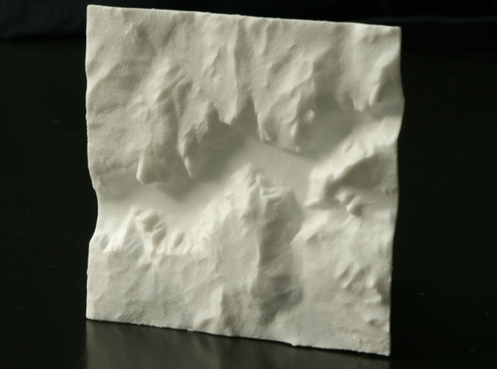 3'' Yosemite Valley Terrain Model, California, USA 3d printed Top view of actual 3D printed model, North is up