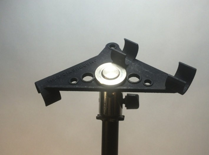 ORTF Stereo Mic Clip 19mm 3d printed Shown with swivel and top nut (not included).