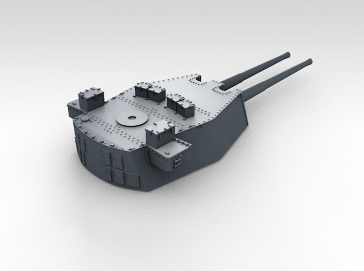 "1/570 HMS Prince of Wales 14"" Turrets 1941 3d printed 3d render showing product detail (B Turret)"