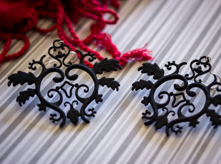 Gothic Leaves Earrings 3d printed