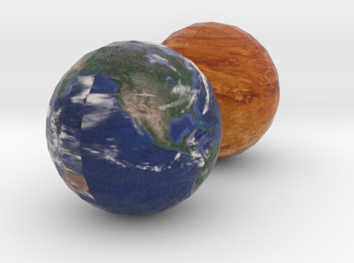 Venus and Earth 3d printed