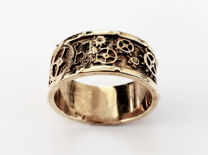 Steampunk Geared Ring 3d printed Pictured in Polished Brass