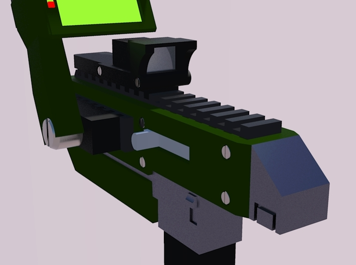 28mm X-1 Compact Assault Rifle (10 Pack) 3d printed Rear Render with Optional Motion Sensor and Holographic Sight