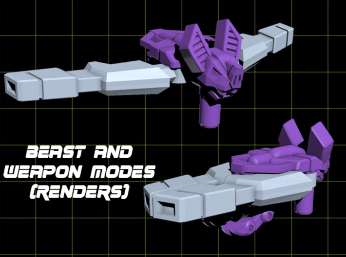 ShootBat Transforming Weaponoid Kit (5mm) 3d printed render showing the kit in both modes