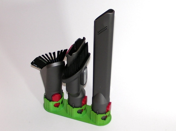 Holder - Dyson V8 x 4 tools (S&F) - Wall Mount 3d printed 3 x example Medium. Showing the brush angled to fit