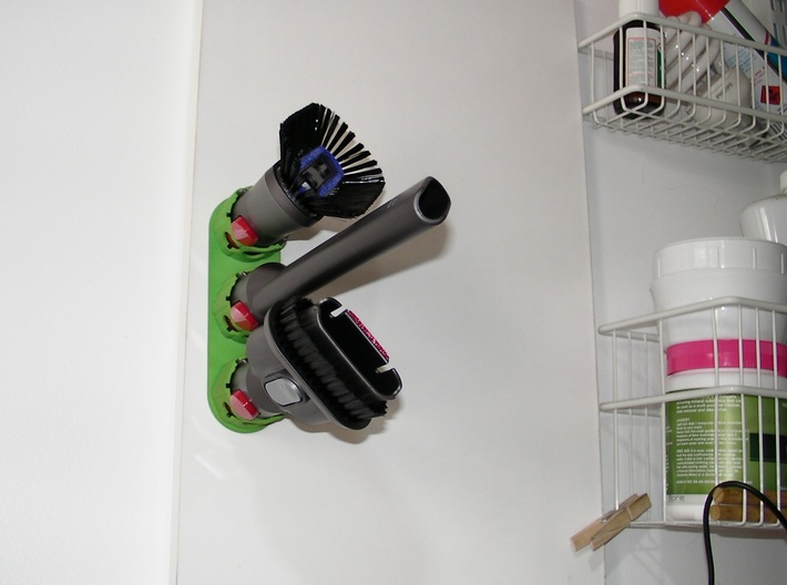 Holder - Dyson V8 x 4 tools (S&F) - Wall Mount 3d printed 3 x example Medium. Wall mounted