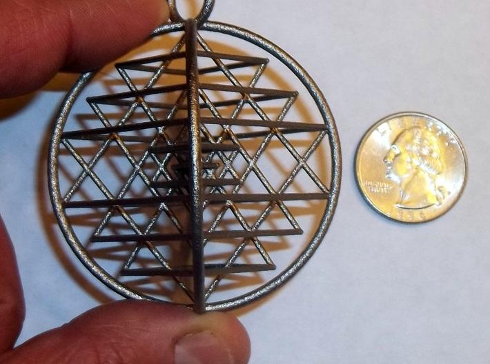 3D Sri Yantra Symmetrical 3d printed 3D Sri Yantra Pendant Alternate in Polished Nickel Steel