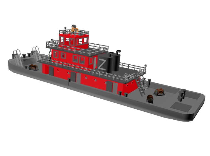 128' Pusher Boat in Z scale 3d printed Pusher Boat 128'