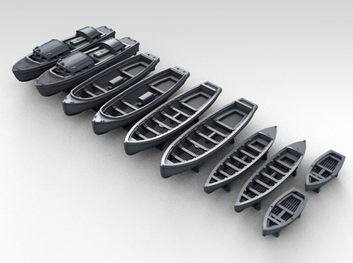 1/350 WW2 RN Boat Set 1 with Mounts 3d printed 3d render showing product detail