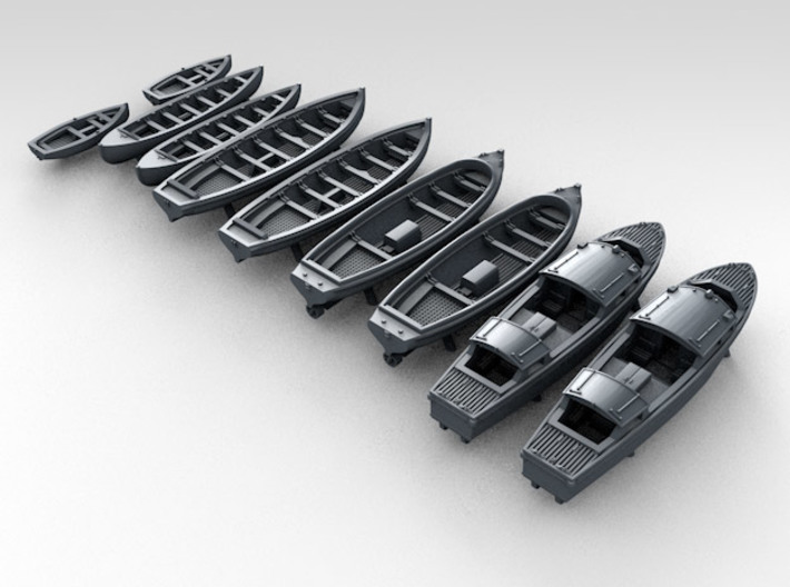 1/500 WW2 RN Boat Set 1 without Mounts 3d printed 3d render showing product detail