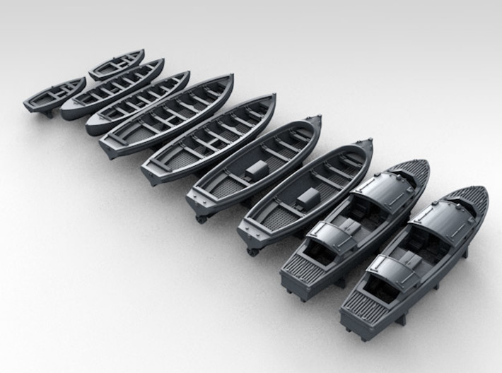 1/700 WW2 RN Boat Set 1 with Mounts 3d printed 3d render showing product detail