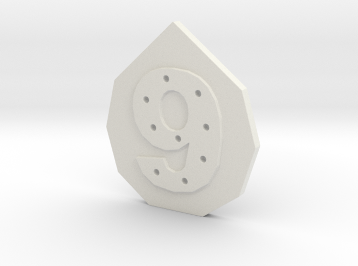 9-hole, Number 9, 9 Sided Button 3d printed