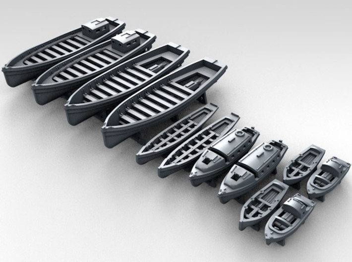 1/700 WW2 RN Boat Set 2 with Mounts 3d printed 3D Render displaying detail