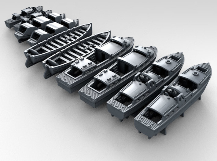 1/700 WW2 RN Boat Set 3 with Mounts 3d printed 3d render showing product detail
