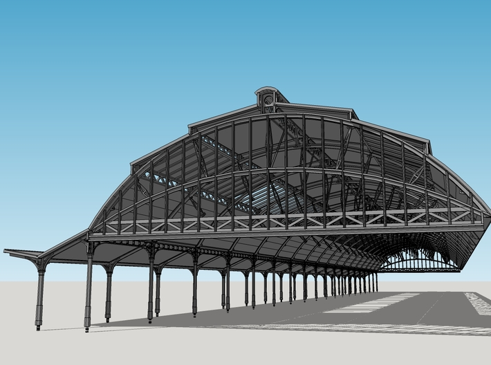 Stationskap Zwolle - 2 Oostelijke Secties 3d printed Complete Station Canopy consisting of 9 parts of 2 sections each.