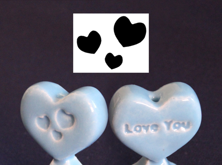 Pie Funnel in a heart shape 3d printed Gloss Blue Porcelain - customizable option coming soon