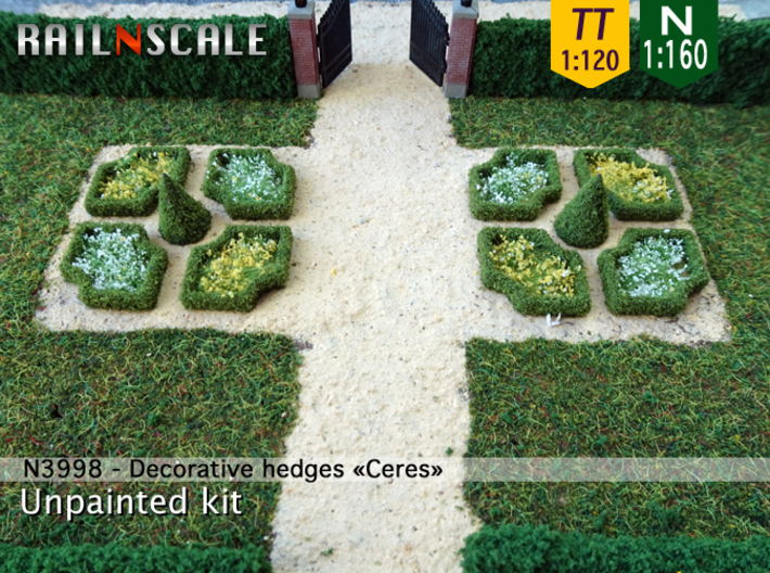 Decorative hedges Ceres (N 1:160 - TT 1:120) 3d printed