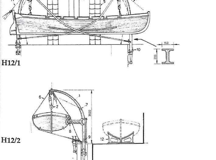1/96 IJN Davits For Cutter 9m 3d printed