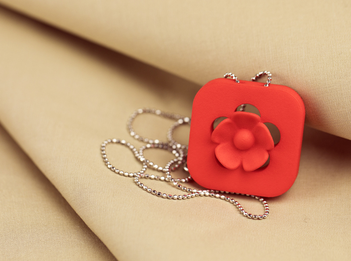 Blossom Statement Pendant 3d printed red blossom statement pendant