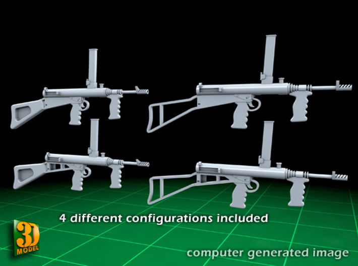 Owengun (1:32) 3d printed Owen submachine gun - 1/32 - 4 different guns