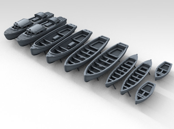 1/144 WW2 RN Boat Set 1 without Mounts 3d printed 3d render showing product detail
