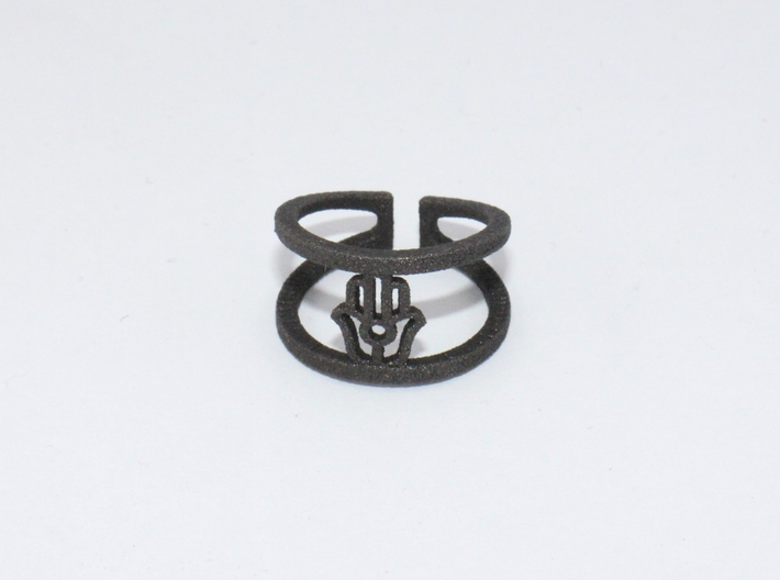 HAMSA Ring 3d printed Matte Black Steel
