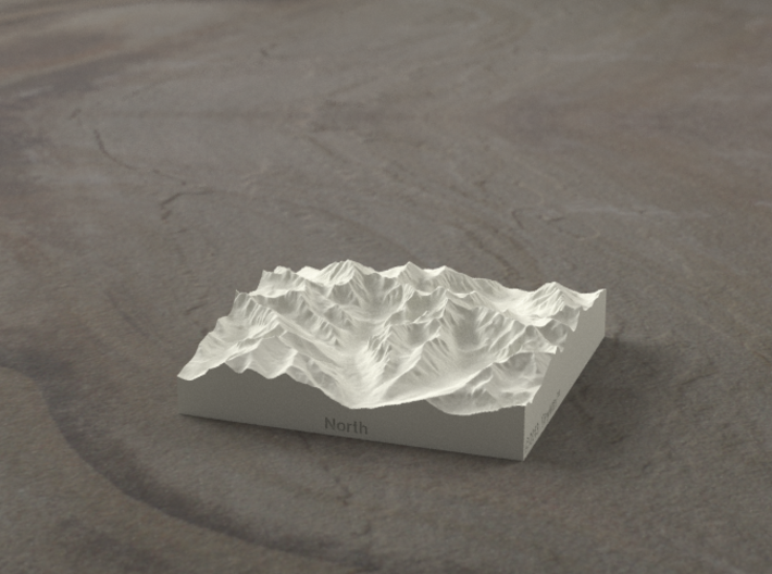 3''/7.5cm High Tatras, Poland/Slovakia, Sandstone 3d printed Radiance rendering of model, viewed from Poland, looking SSW