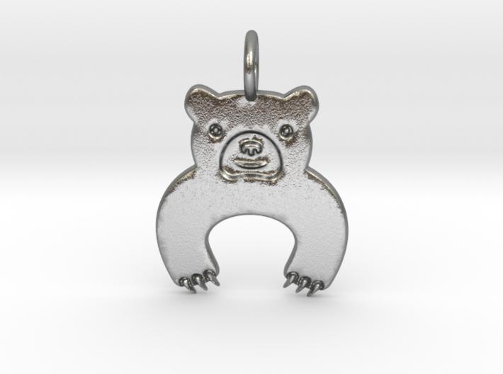 Bear Pendant 3d printed Silver Bear.