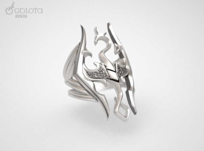 Skyrim Gothic Ring  3d printed Aftermarket Patina and lightly polished afterwards