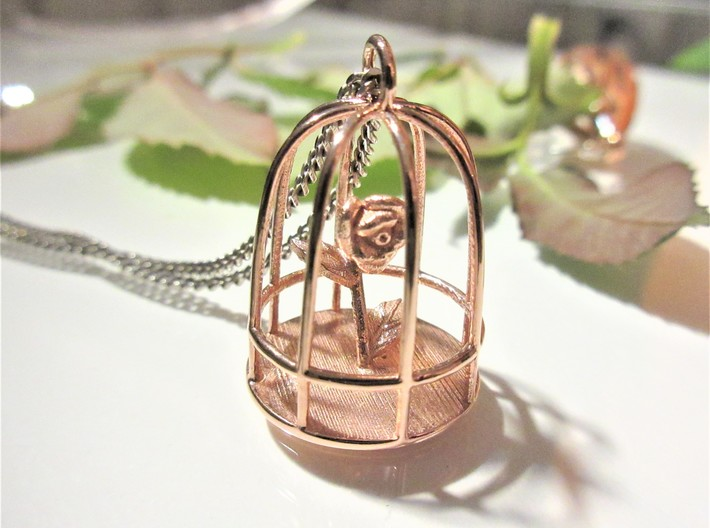 Beauty & the Beast inspired Rose In Cage Pendant 3d printed Beauty & the Beast pendant