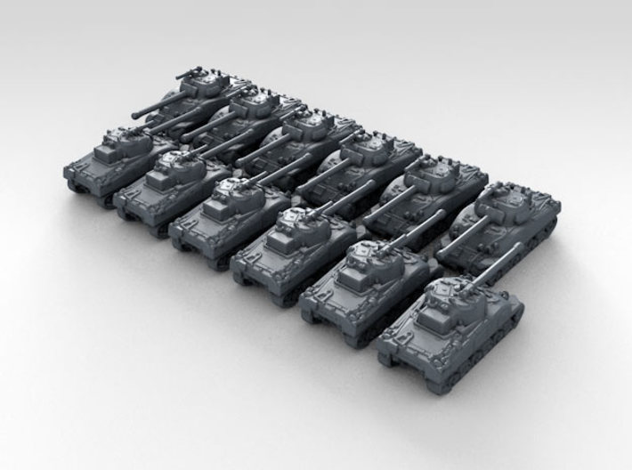 1/600 Scale British Sherman Firefly Tank x12 3d printed 3d Render showing product detail