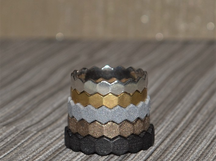 Hex Ringsaround Hexagon Geometric Ring Sizes 6-10 3d printed All sizes from 10 bottom to 6 on top