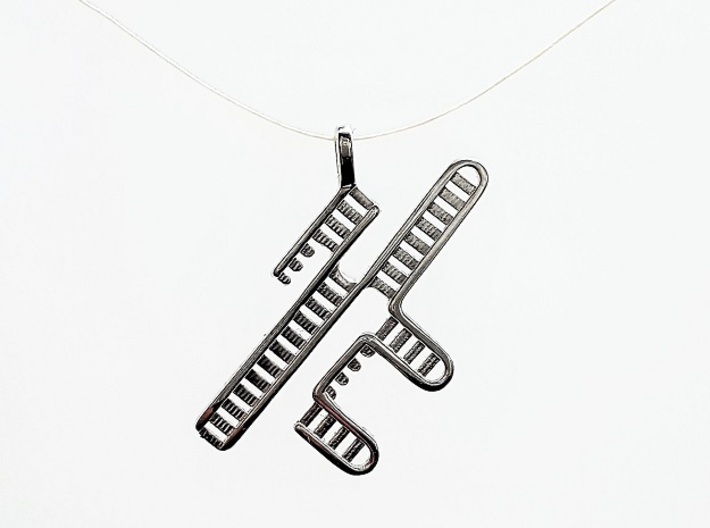 CRISPR RNA Pendant with Bail 3d printed Polished Silver pendant hanging by the bail