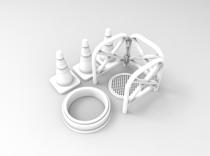 Manhole with fence 01. HO scale (1:87) 3d printed Render of manhnole with fences