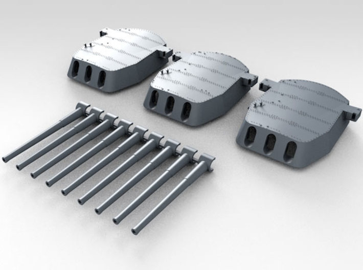 """1/700 16""""/45 MKI HMS Nelson Turrets 1927 3d printed 3d render showing set"""