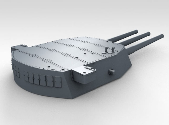 """1/600 16""""/45 MKI HMS Nelson Turrets 1927 3d printed 3d render showing A Turret detail"""