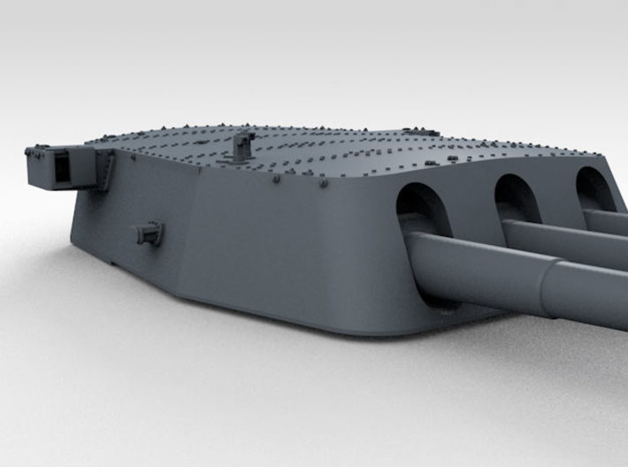 """1/600 16""""/45 MKI HMS Nelson Turrets 1927 3d printed 3d render showing B Turret detail"""