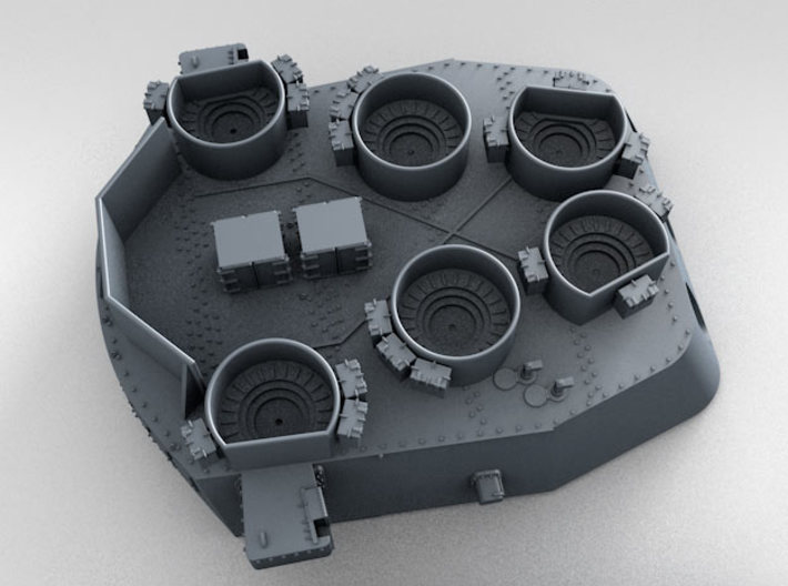 """1/350 16""""/45 MKI HMS Nelson Turrets 1945 3d printed 3d render showing 1/350 splinter shield thickness"""