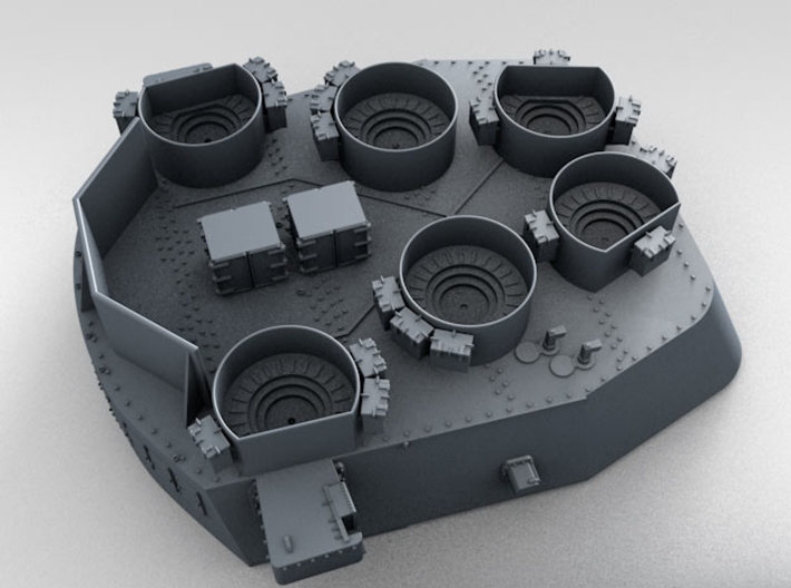 "1/200 16""/45 MKI HMS Nelson Turrets Only 1945 3d printed 3d render showing splinter shield thickness"