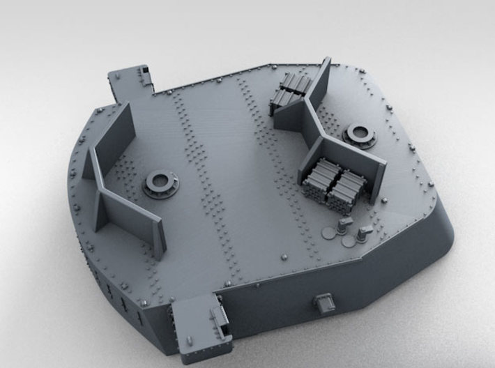 """1/600 16""""/45 MKI HMS Nelson Turrets 1940 3d printed 3D render showing UP Launcher Shields and Ammo Lockers"""