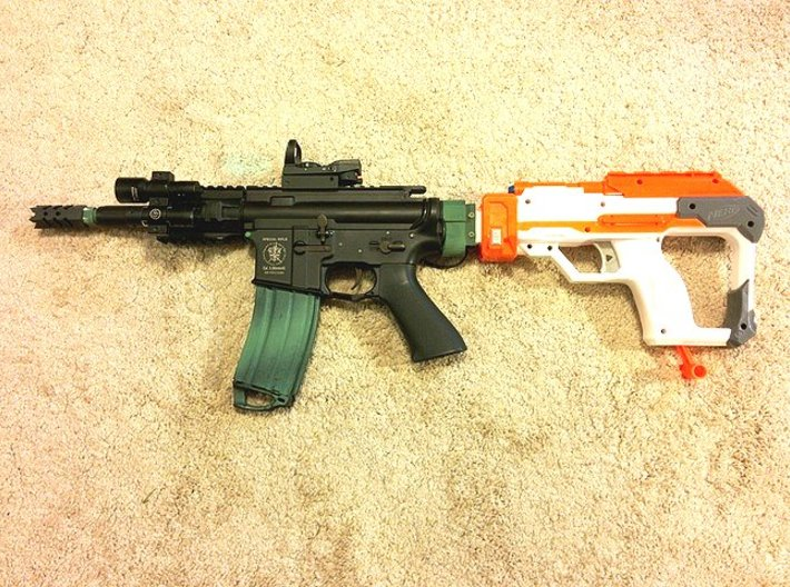 TeleScopix to Nerf Shoulder Stock Adapter 3d printed