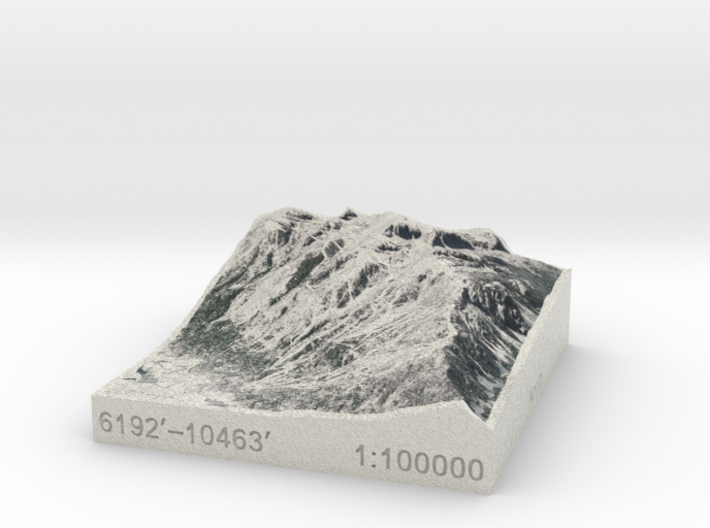Jackson Hole in Winter, Wyoming, 1:100000 3d printed