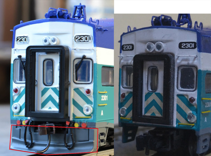 Plow for Bombardier Cars - Add-On N Scale 3d printed