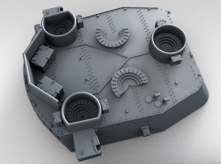 """1/700 16""""/45 MKI HMS Nelson Turrets 1943 3d printed 3d render showing X Turret detail"""
