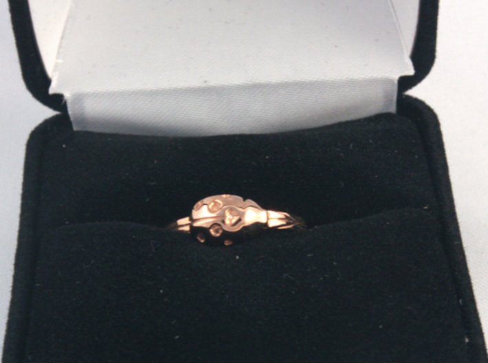 Ladybug 'Loved' Ring 3d printed 14k rose gold size 6 with jewelry box